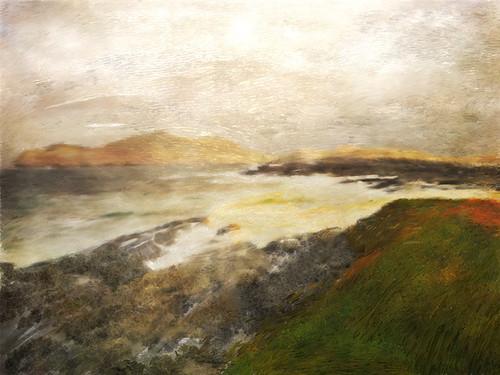 The wild Irish coast run through the photo app Psykopaint
