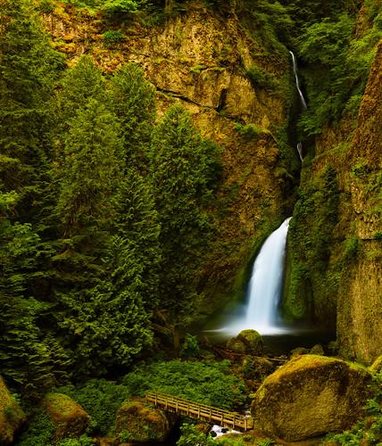 bridge nature water oregon portland landscape evening waterfalls columbiarivergorge wahclellafalls