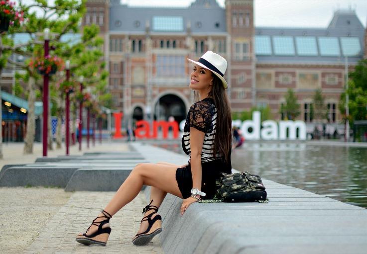 DSC_5576 River Island dungerees, Pomikaki bag, Panama hat, Amsterdam
