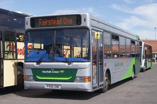 Stagecoach Norfolk Green 34701 PX05 ENC, King's Lynn bus station 13/06/14 © David Bell