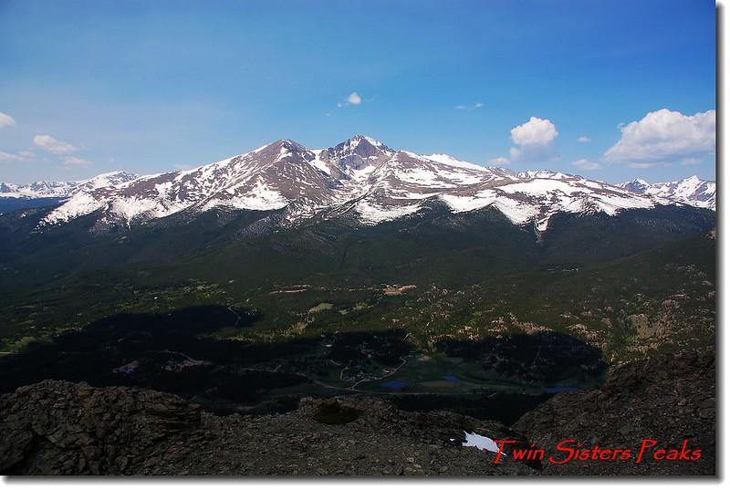 Twin Sister 山頂遠眺 Mount Meeker、Longs Peak 和Lady Washington(左至右)