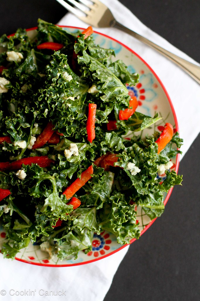 Chopped Kale Salad Recipe with Gorgonzola & Dijon Yogurt Dressing | cookincanuck.com