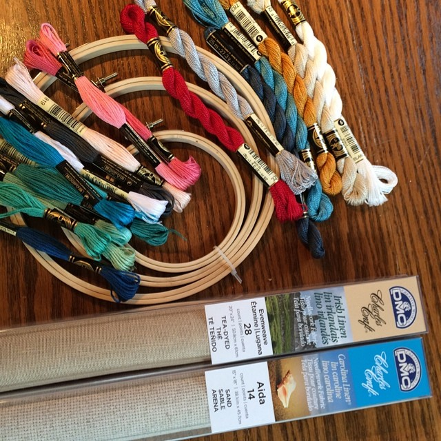 I went shopping for hoops and new threads and linen yesterday. I'm excited to start stitching. #bigstitchswap