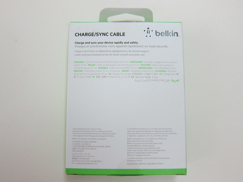 Belkin 6 Inch Lightning to USB ChargeSync Cable - Box Back