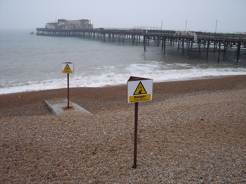04 Danger, burned-out pier, adopt a plank, Hastings 04-13