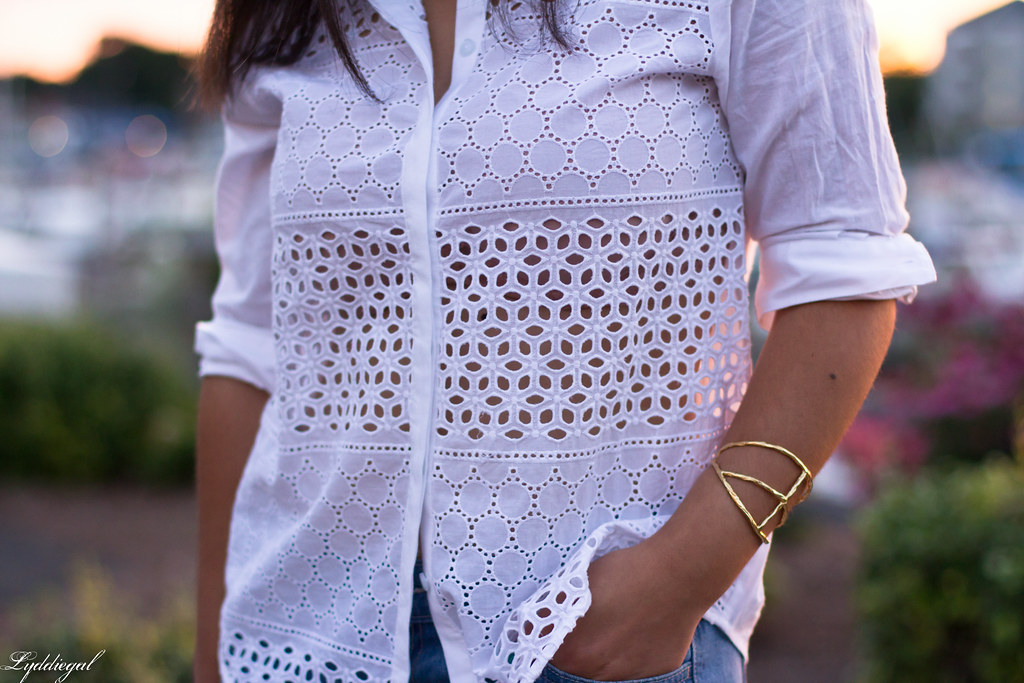 white eyelet buttondown, denim shorts 1