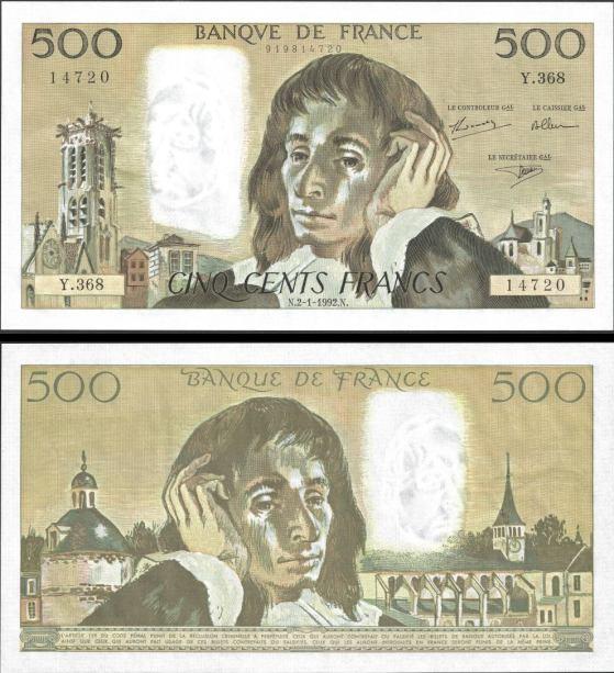 500 Frankov Francúzsko 1992, Pick 156i