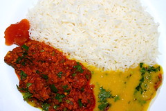 Lentils,keema served with boiled rice and mango ch…
