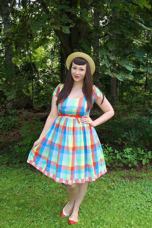 Bright plaid dress