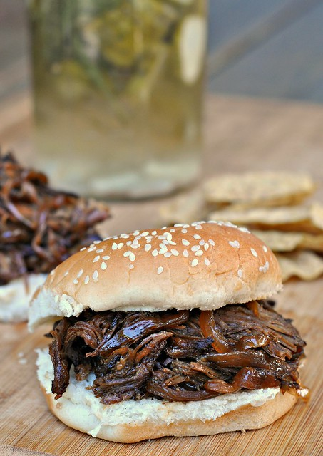 Slow Cooker Pulled Pork with Bourbon-Peach Barbecue Sauce 1
