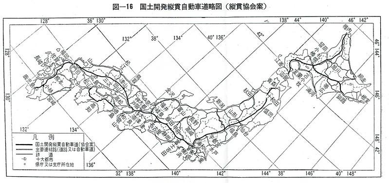 国土開発縦貫自動車道略図(縦貫協会案)