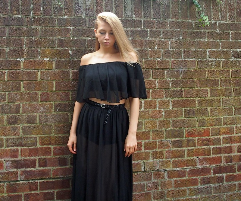 Gypsy Top, Off the Shoulder, Sheer, Bardot, Crop, Boohoo, Chiffon, Maxi Skirt, Black, SS14, High Street, How to Wear, Styling Inspiration, Sam Muses, UK Fashion Blog, London Style Blogger