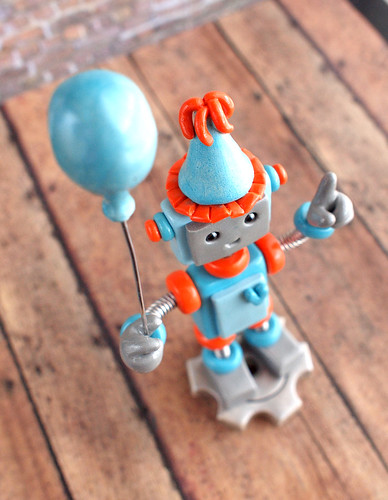 Robot 1st Birthday Cake Topper in blue and orange