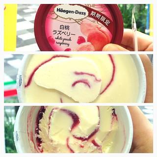 白桃raspberry 味、 聞就白桃好香、食落得raspberry 味!
