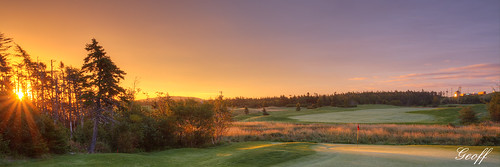 travel sun canada green tourism nature wet colors beauty sunrise newfoundland golf landscape landscapes colours hole 7 stjohns course dew golfing nl scape clovelly moisture osprey autofocus greatphotographers golfscape golfscapes