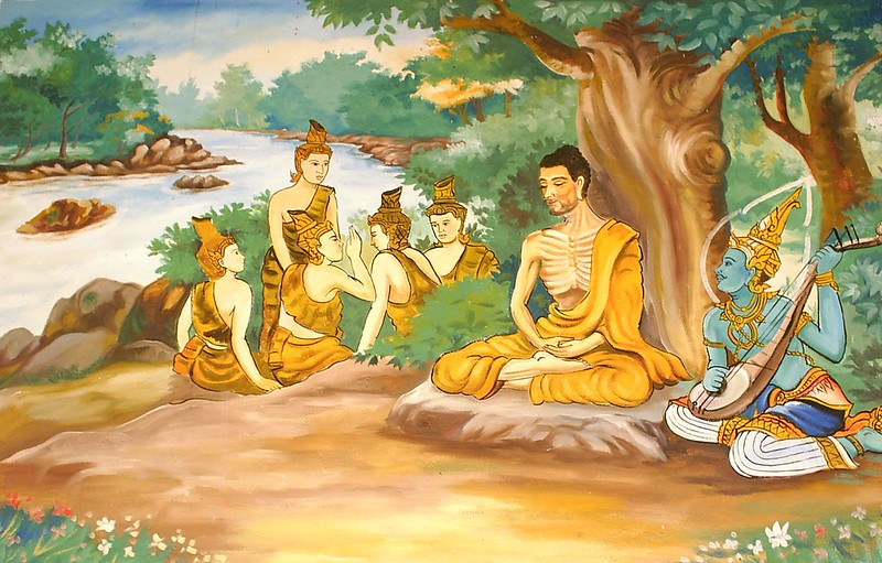 Depicting the Bodhisattva Gautama undertaking extreme ascetic practices before his enlightenment