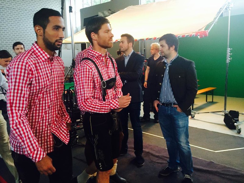 Xabi Alonso wearing lederhosen