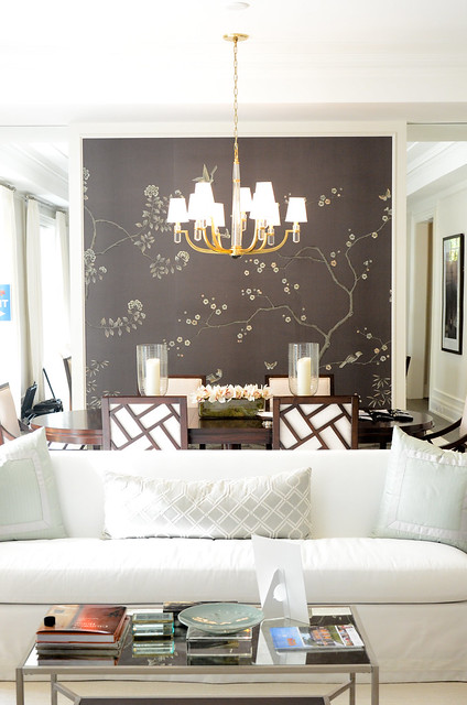 Formal dining with silk embroidered wall paper . Princess Margaret Showhome in Oakville by Brian Gluckstein