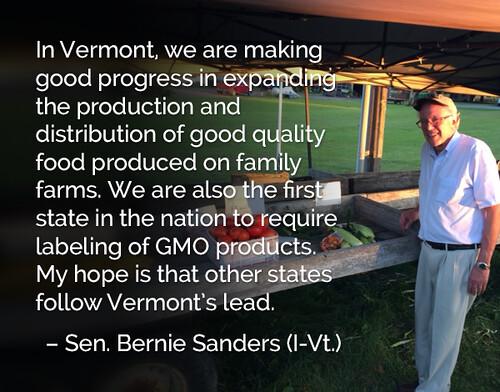 Vermont - GMO Label Law - US Senator Bernie Sanders - Independent- No Party