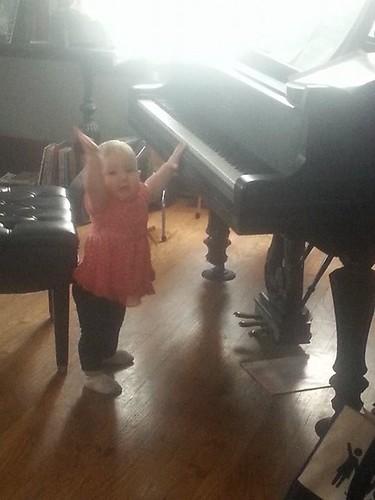 """musical baby playing great grandma's piano...""""ta da!!"""""""
