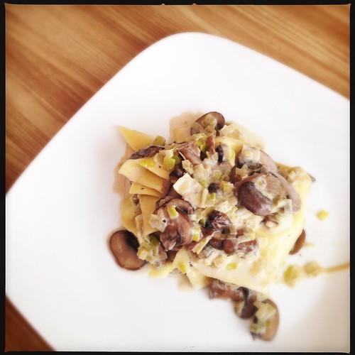 Leek and mushroom pasta