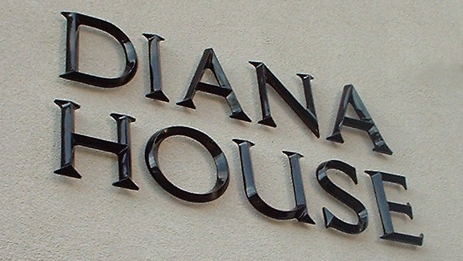 painted prismatic face architectural font cast aluminum letters installed with standoffs on exterior business building