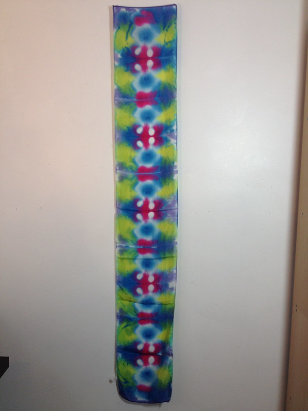 folded and clamped tie dye scarf