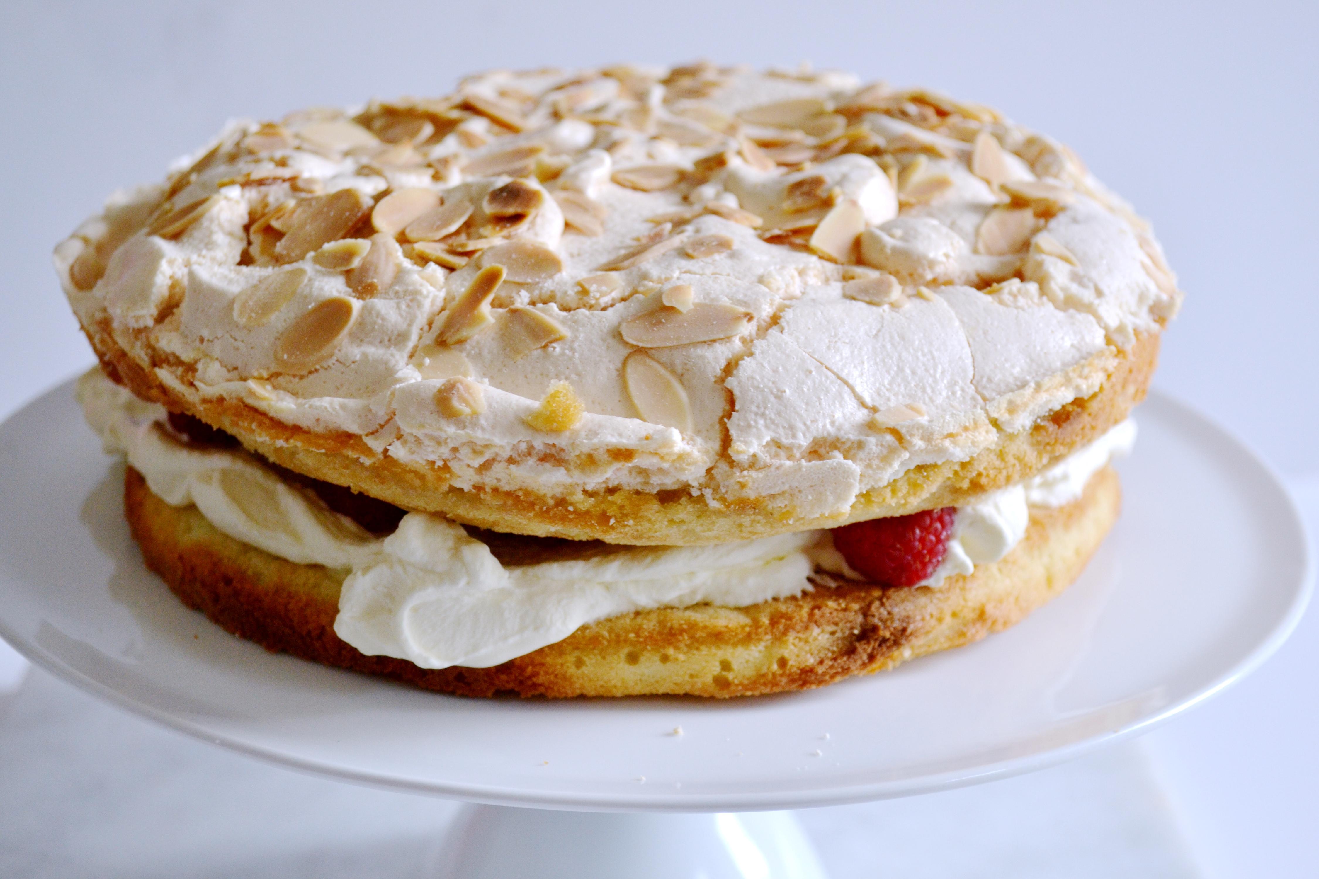 Raspberry & Almond Meringue Cake