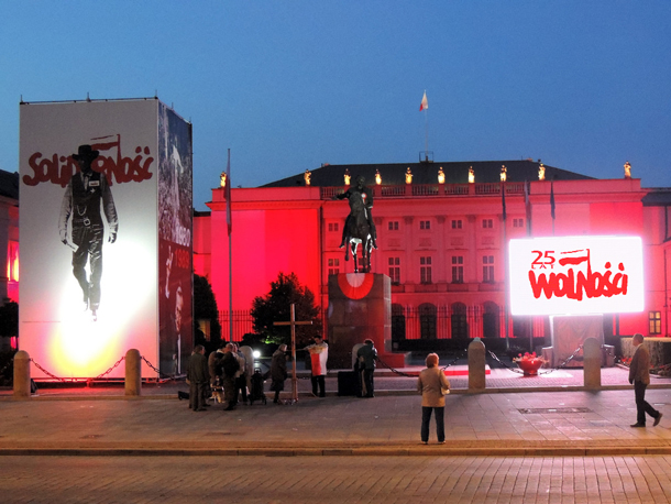 Notices in Warsaw celebrating 25 years of Polish Democracy