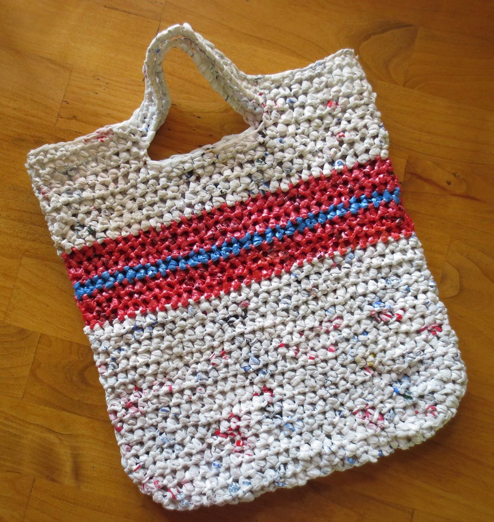 Crochet recycled plastic bags - Striped Reusable Tote Bag