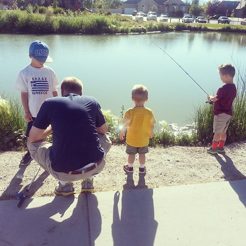 Fishing, is the name of the game, if you dont want to have any fun and get really stressed out at your demanding hook in algae catching children!  Yeah!  They all have cute butts though.