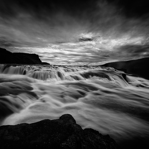 bw black water monochrome square waterfall iceland lowkey gullfoss nd64