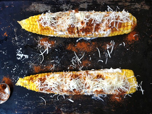 grilled corn with paprika, fromage frais and parmigiano reggiano