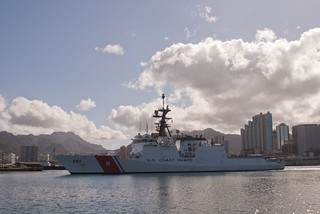HONOLULU – U.S. Coast Guard Cutter Waesche returns to the Coast Guard Base at Sand Island, Hawaii, July 30, 2014, after spending three weeks at sea participating in Rim of the Pacific (RIMPA) 2014. Twenty-two nations, more than 40 ships and six submarines, about 200 aircraft and 25,000 personnel are participating in RIMPAC from June 26 to August 1, in and around the Hawaiian Islands and Southern California. The world's largest international maritime exercise, RIMPAC provides a unique training opportunity that helps participants foster and sustain cooperative relationships that are critical to ensuring the safety of sea lanes and security on the world's oceans. RIMPAC 2014 is the 24th exercise in the series that began in 1971. (U.S Coast Guard photo by Chief Warrant Officer Allyson E.T. Conroy)