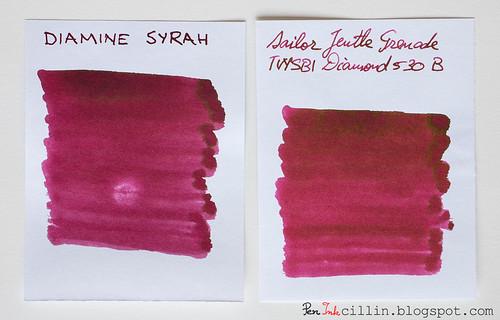 Diamine Syrah vs Sailor Jentle Grenade