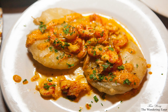 Fried green tomatoes topped with crawfish sauce