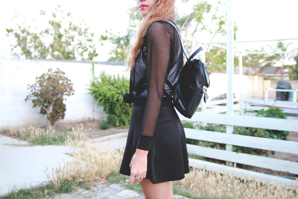 Mesh jumper, Zara skirt, River Island metallic sliders
