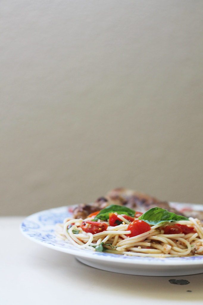 capellini with tomatoes and basil, sauteed chicken