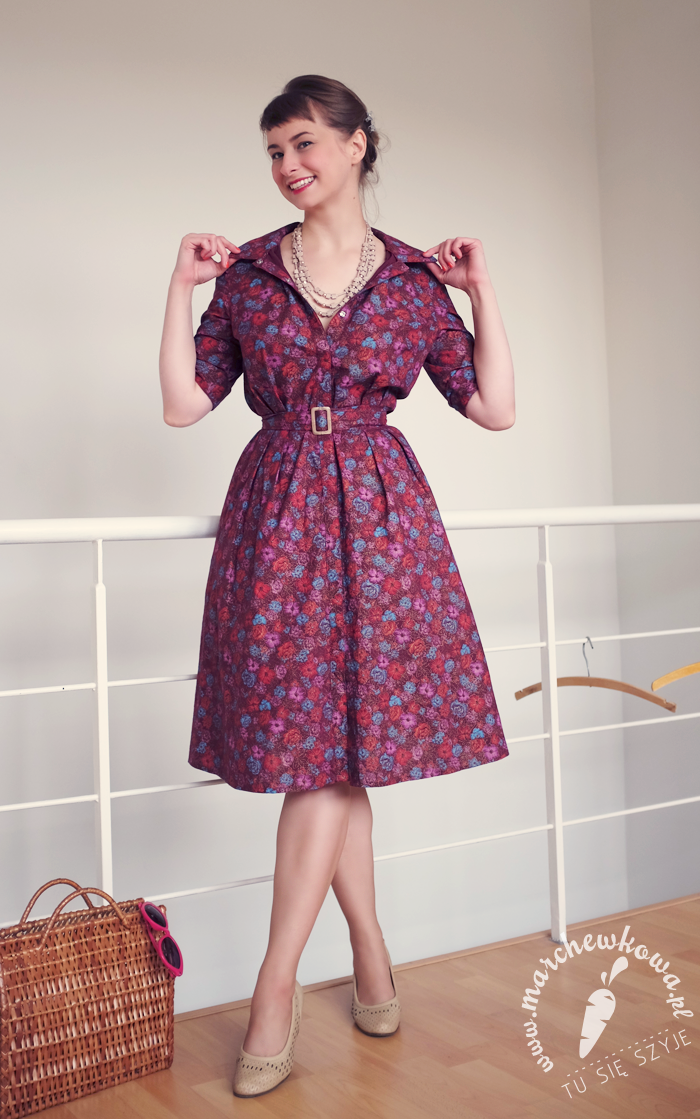 blog, marchewkowa, szycie, krawiectwo, sewing, pattern Burda Easy, cotton, Piegatex, shirtwaist dress, szmizjerka, 50s, retro, vintage, flower print, DIY, handmade