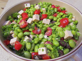 Mediterranean 'Lima Bean' Salad with Tomatoes, Kalamata Olives and Marinated Tofu