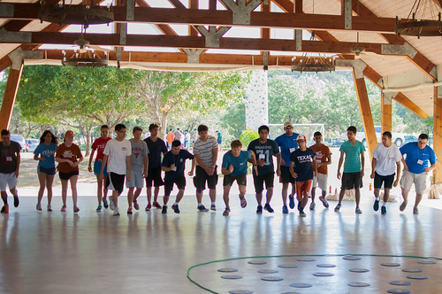 UT PGE students and mentors participate in team-building activities during the 2014 Freshman Fall Retreat in Marble Falls.