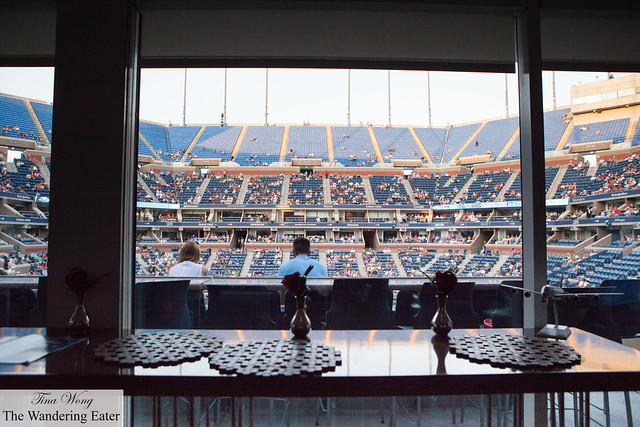 Looking out to Arthur Ashe Stadium from inside the Emirates VIP Suite