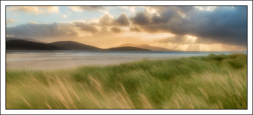 seascape beach landscape evening coast scotland unitedkingdom dunes softfocus lightbeams outerhebrides luskentyre isleofharris photostyles