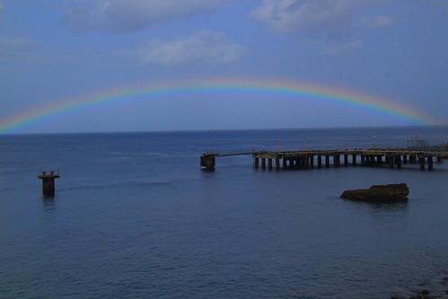 sea storm west water rain weather season pier rainbow arch rainy caribbean flickrmeetup indies flickermeet