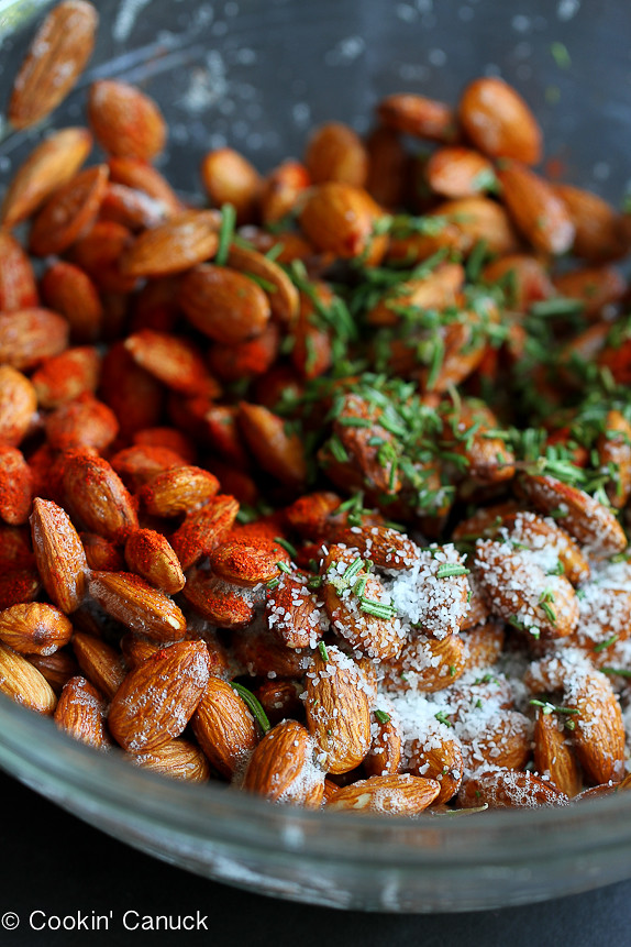 Roasted Almonds with Smoked Paprika & Rosemary...A handful of these spiced nuts will keep you satisfied! | cookincanuck.com #recipe #snack #healthy