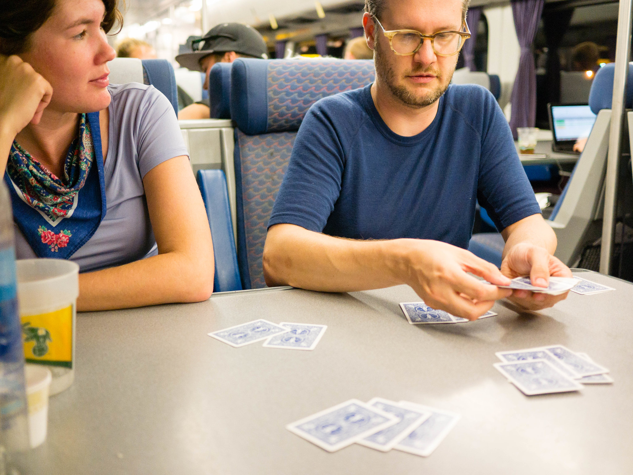 Playing euchre on the train