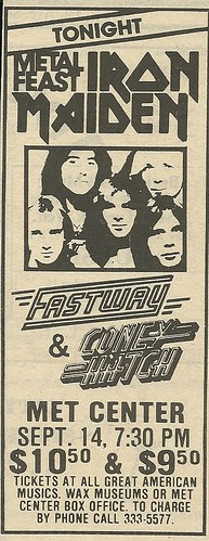 09/14/83 Iron Maiden/ Fastway/ Coney Hatch @ Met Center, Bloomington, MN (Ad 2)