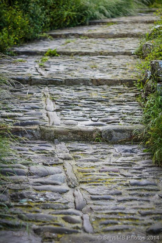 Caminos de piedra mojada