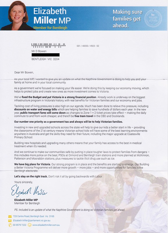 Liberal flyer, September 2014 (cover letter)