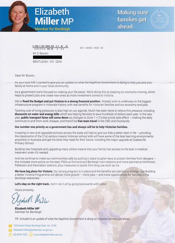Liberal flyer, September 2014 (cover letter)